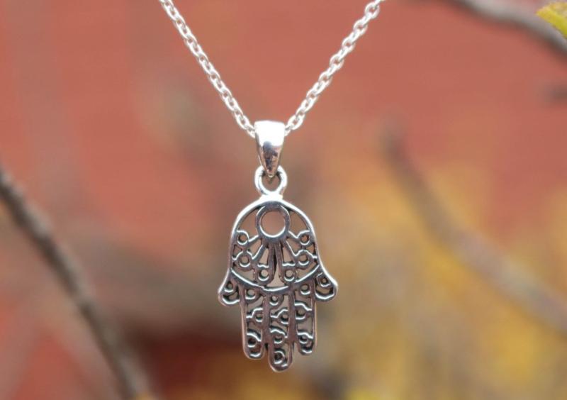 Zilveren Hamsa, hand van Fatima hanger - Thailand