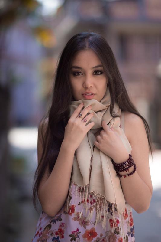 Creme water pashmina sjaal