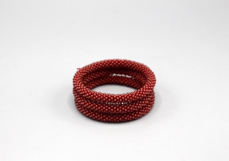 Glaskralen armband - kastanjebruin