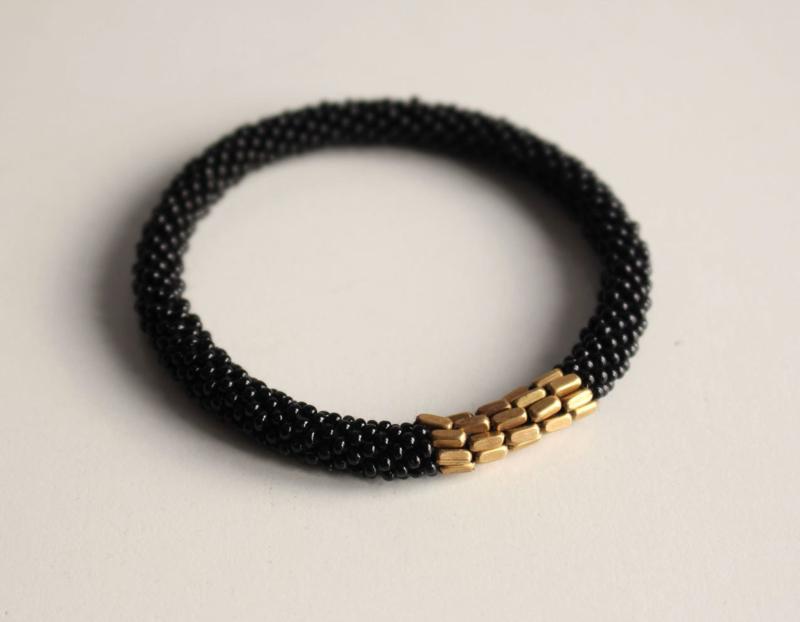 Glaskralen armband - zwart - fair trade