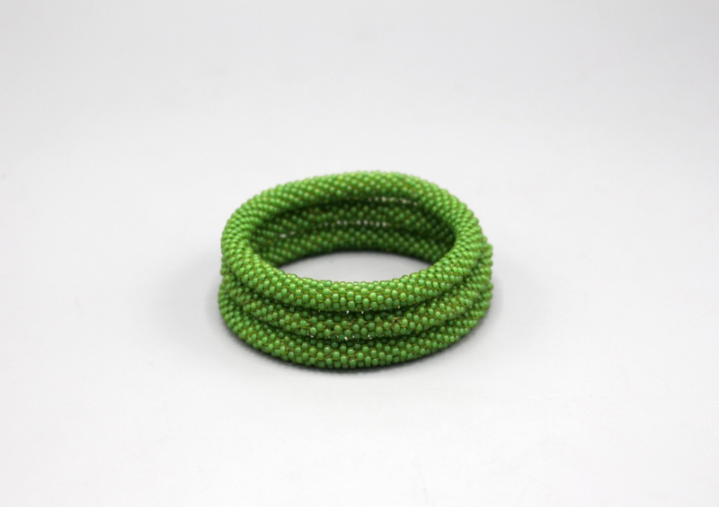 Glaskralen armband - lichtgroen