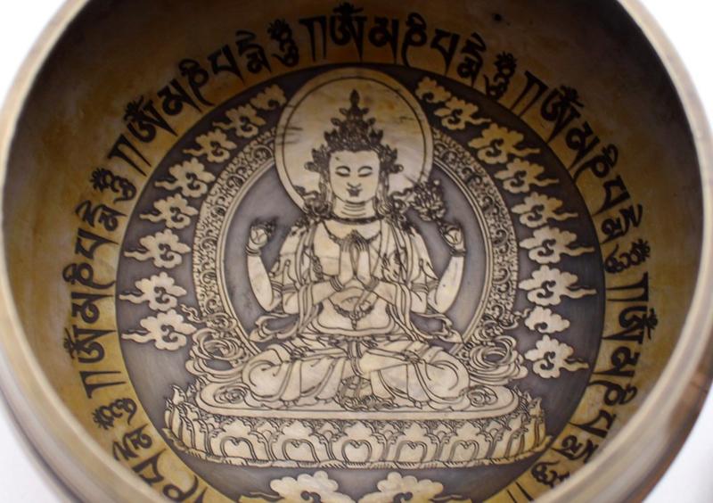 Handgeschilderde Chenrezig klankschaal