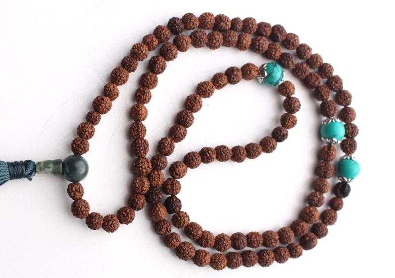 Rudraksha mala voor meditatie en yoga - turkoois