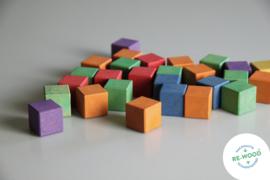 150 gekleurde houten telblokjes