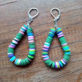 Confetti oorbellen groen/lila