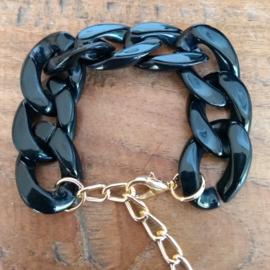 Schakel armband zwart