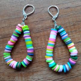 Confetti oorbellen fluor geel/roze