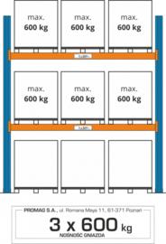 Palletstelling  hoogte 3000 mm, 3 europallets per laag. Verschillende uitvoeringen
