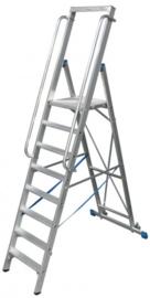 Aluminium inklapbare blokladder met treden en platform, leuningen en wielen