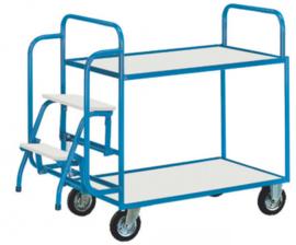 Etagewagen met 2 niveau's trapje en tot 500 kg belastbaar.