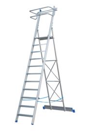Aluminium Bordestrap met diepe treden, extra veiligheidsbeugel, 2 wielen en voorzien van aluminium plateau.