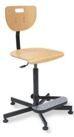 Werkplaatsstoel beukenhout met vaste voet, hoog model