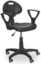 Werkplaatsstoel met armleuningen en polyurethaan zitting