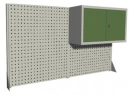 Metalen gaatjeswand met kastje voor bovenop bureau van 1600 mm