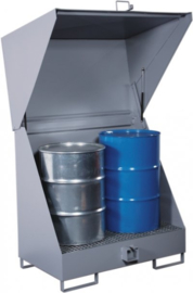Opslagstation voor (gevaarlijke) stoffen in vaten. Inclusief lekbak.