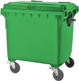 Afvalcontainer van hoogwaardige kunststof HD-PE 1100 liter in verschillende uitvoeringen.