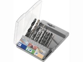 Lux-Tools 19 delige assortiments borenset voor steen, hout en metaal.