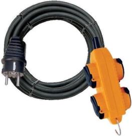 Brennenstuhl Powerblock elektrisch verlengsnoer met 4 uitgangen met kleppen van 10 m IP44