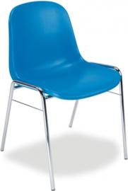 Stapelbare stoel Beta met kunststof kuip en chrome buis.