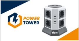 Power Tower desktop verlengblok met 8 stopcontacten en 4 USB oplaadpunten.