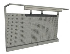 Metalen gaatjeswand voor bovenop bureau van 2050 mm