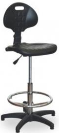 Hoge werkplaatsstoel met verstelbare voetensteun en polyurethaan zitting