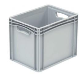 Kunststof krat met gesloten zijkanten en 2 handvaten 400x300x320 mm