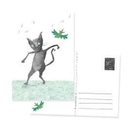 postcard cat and bird Lets dance | per 5