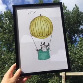 poster das in luchtballon -A4 | per 5