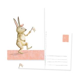 ansichtkaartje met een gekke haas | per 5