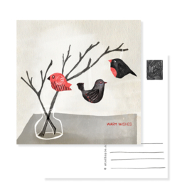 christmas card little birds in a branch | per 5