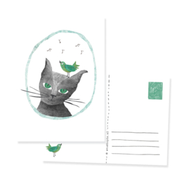 postcard cat and bird close up | per 5