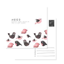 Greetingcard birds pink  MOED | per 5