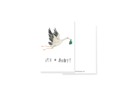minikaartje It's a baby ooievaar | per 5