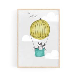 poster badger in a hot air balloon -A4