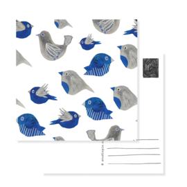 postcard birds blue -no text | per 5
