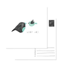 postcard birds green LIEF JE | per 5