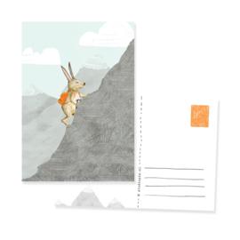 ansichtkaartje  avontuur bergbeklimmende haas | per 5 stuks