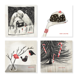 Set of pencil drawing cards with red details | per 5