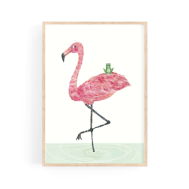 poster flamingo and frog  BFF - A4