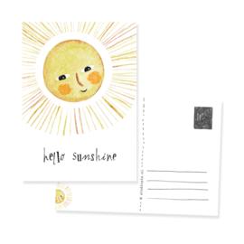 Vrolijk ansichtkaartje Hello sunshine | per 5 stuks