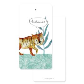 Label tijger 'Bedankt!' - per 20 stuks