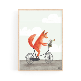 poster fox on a bicycle -A4