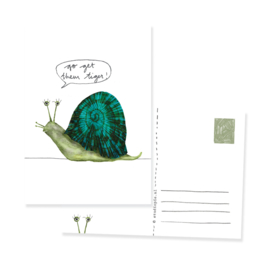 Postcard funny snail 'Go get them tiger!' | per 5
