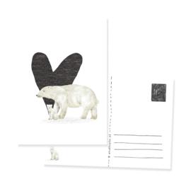 ansichtkaart zwart wit ijsberen met hartje | per 5