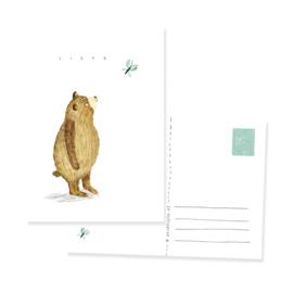 postkaartje liefs, bear and butterfly | per 5