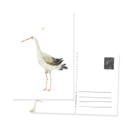 postcard Stork with heart | per 5