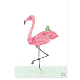 poster flamingo en kikker BFF -A4