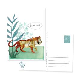 ansichtkaartje tijger 'Bedankt!' | per 5