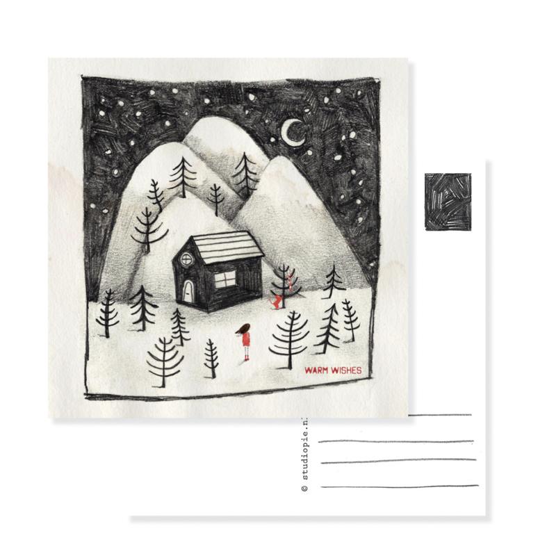 kerst kaart huisje | per 5
